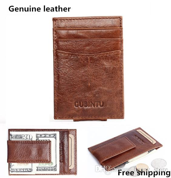 f81087cd8894 Retro Genuine Leather Man Wallets Magnet Money Clips Famous Brand ...