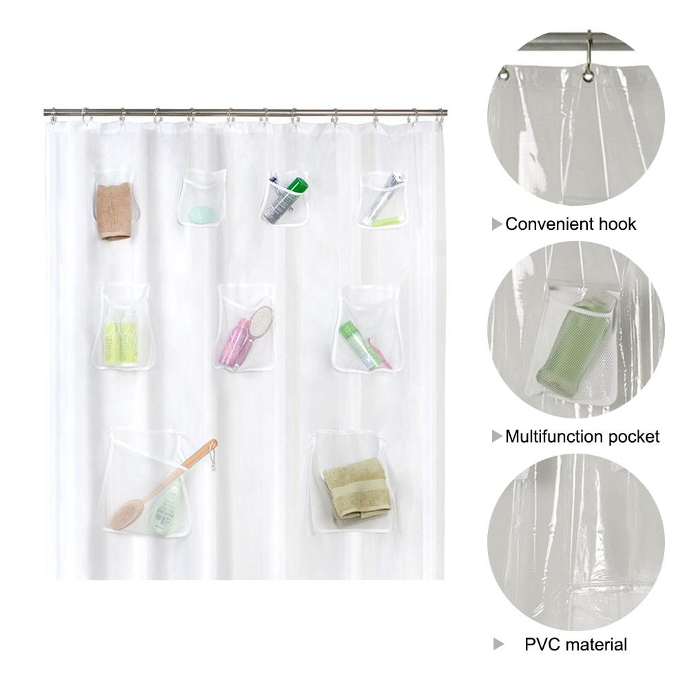 2018 Creative 9 Pockets Bath Organizer Shower Curtain Hooks Mesh Accessories For Home Decoration From Douglass 249