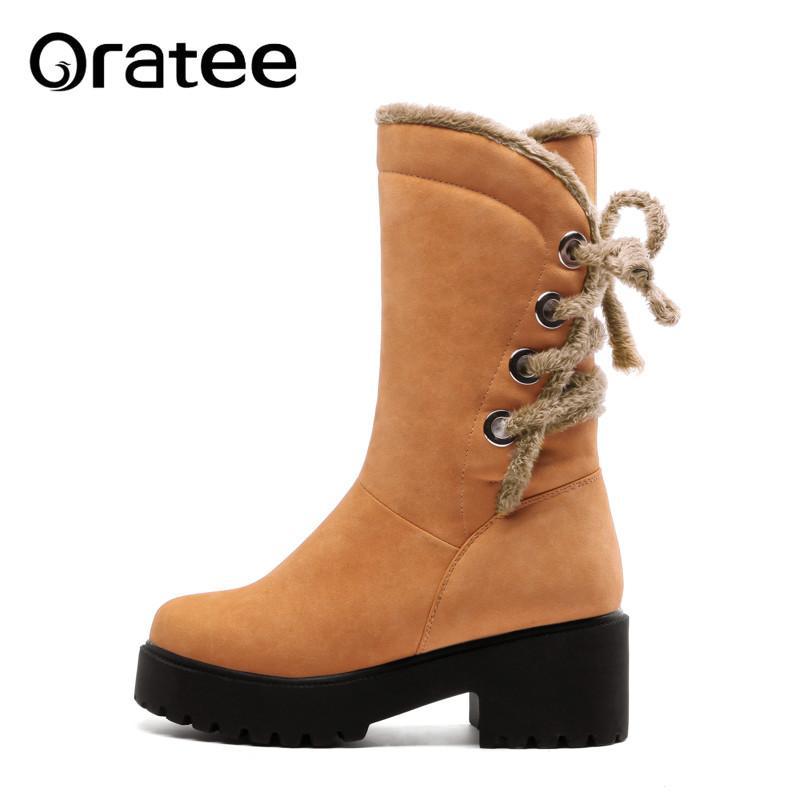 b151fdd74a7718 Acheter Nouveau Hiver Bottes De Neige Chaudes Femmes Cross Tie Bottes Mi  Mollet Fausse Laine Plate Forme Confortable Chaussures Dames Bottines Plus  La ...