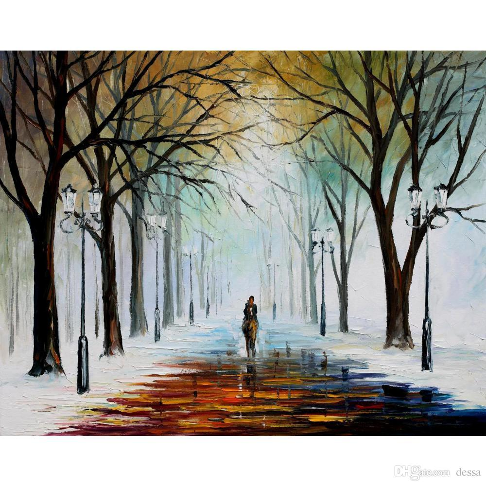 2019 hand painted leonid afremov famous oil paintings winter mood