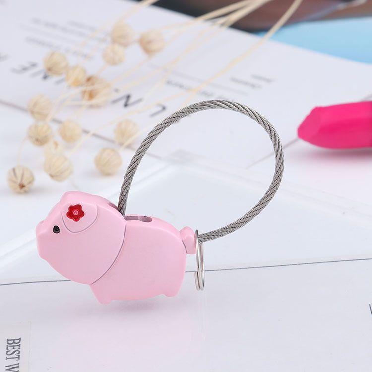 귀여운 돼지 금속 열쇠 고리 와이어 로프 스타일 귀여운 동물 열쇠 고리 자동차 가방 자동 펜던트 커플 기념품 선물
