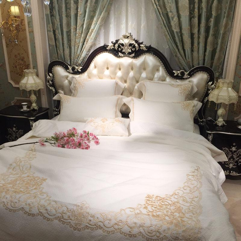 80s Egypt Cotton Golden Embroidery White Luxury Palace Royal Bedding