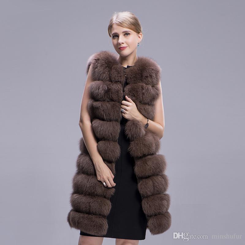 Moda Kış Ceket Doğal Gerçek Kürk Gerçek Fox Coat Uzun 90 cm Kalın Kürk Yelek Kolsuz Dış Giyim Tilki Yelek Bayan MinShu