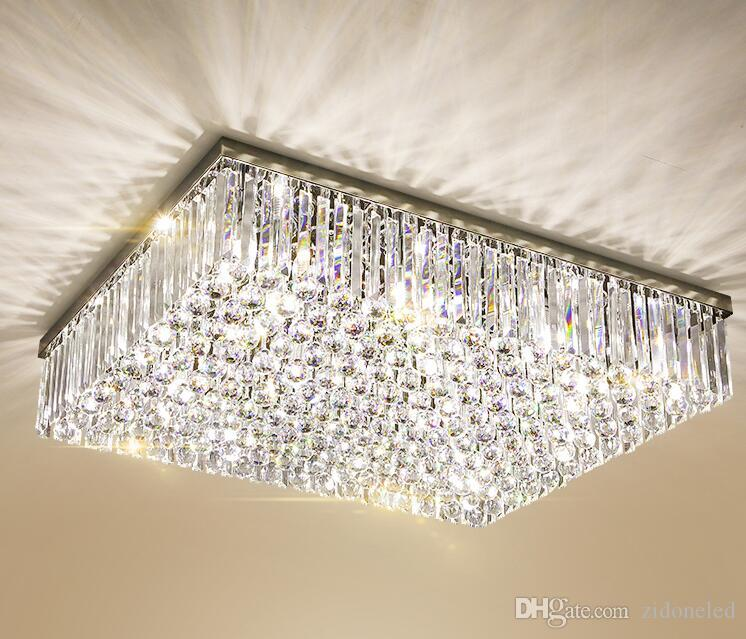 Contemporary Square Crystal Chandelier K9 Crystal Ceiling Lights