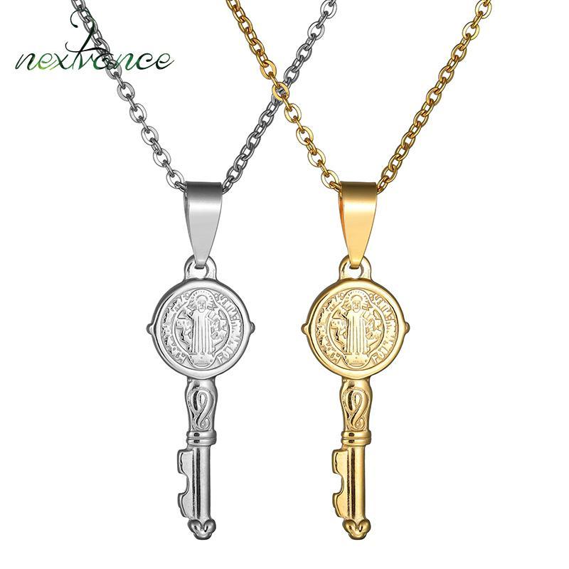 0c791e1ef88 Compre Nextvance Nuevo Diseño Saint Benedict Collar Clave Collar De Medalla  Católica De Acero Inoxidable Para Mujeres Iglesia Oración Amuleto Regalos A  ...