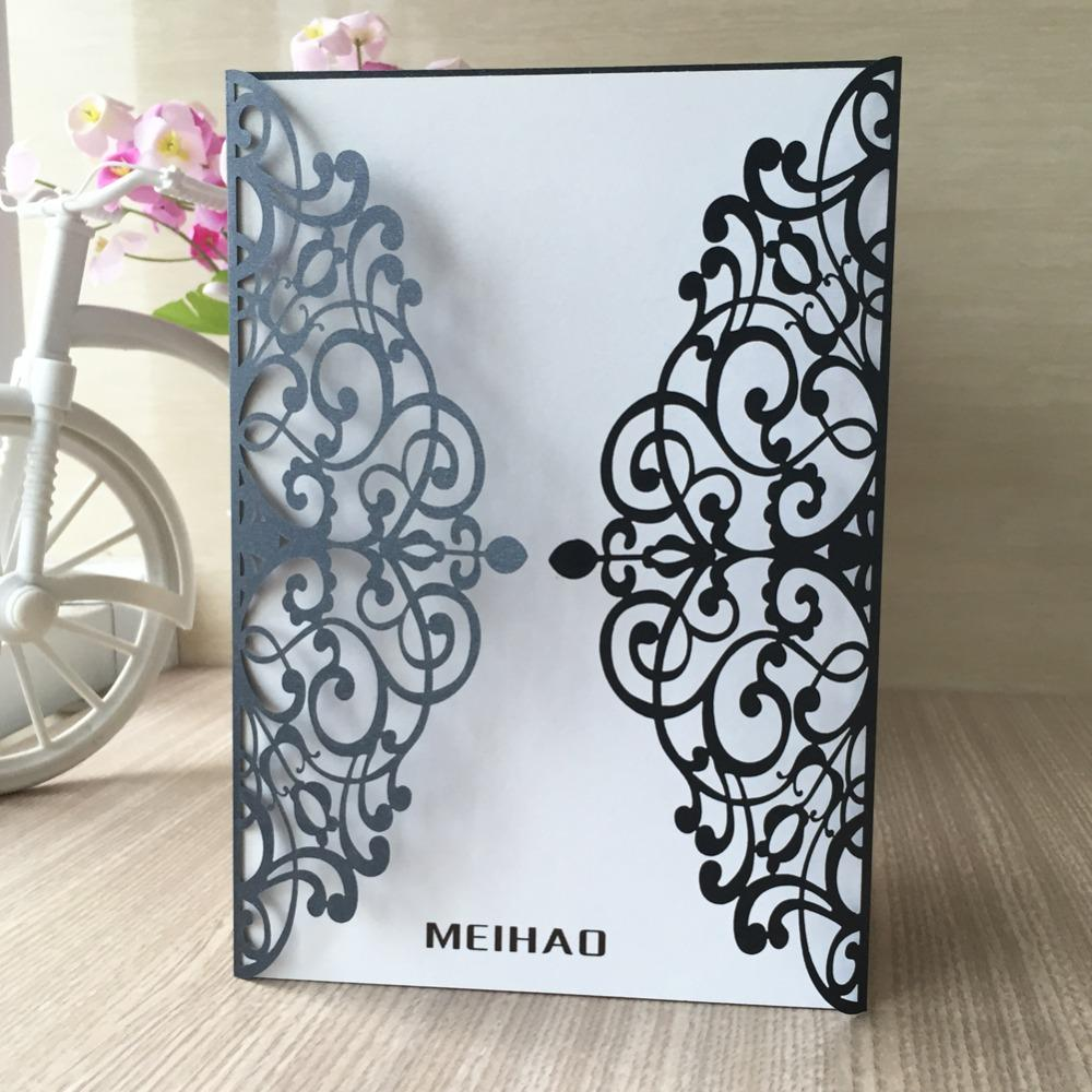 35pcs New Laser Cut Pearl paper Wedding Invitations Cards Greeting Cards Business Invitations RSVP Cards Party Supplies