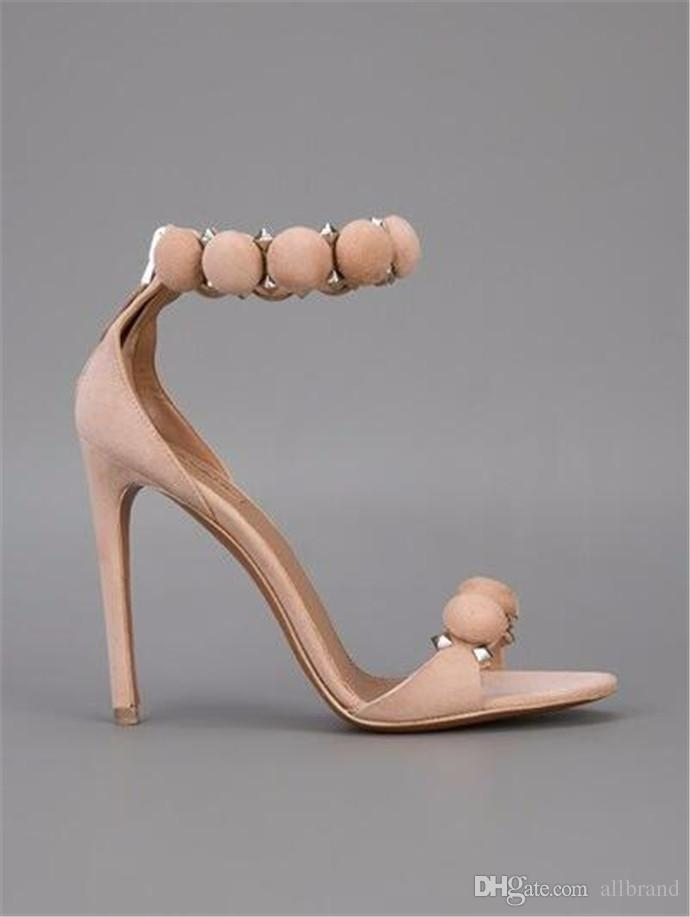 Europe and the United States big fashion sandals open toe bag with stiletto heel strap button ball