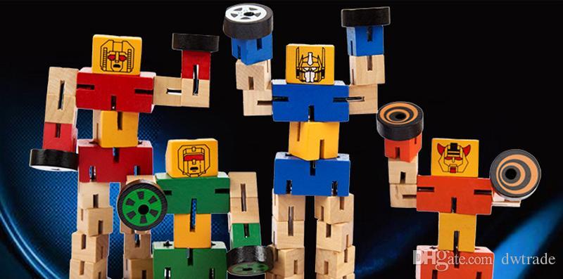Enchevêtrement de bois avec un robot en caoutchouc Des jouets en bois Des jouets éducatifs pour enfants Des modèles de robots de construction Des cadeaux pour enfants