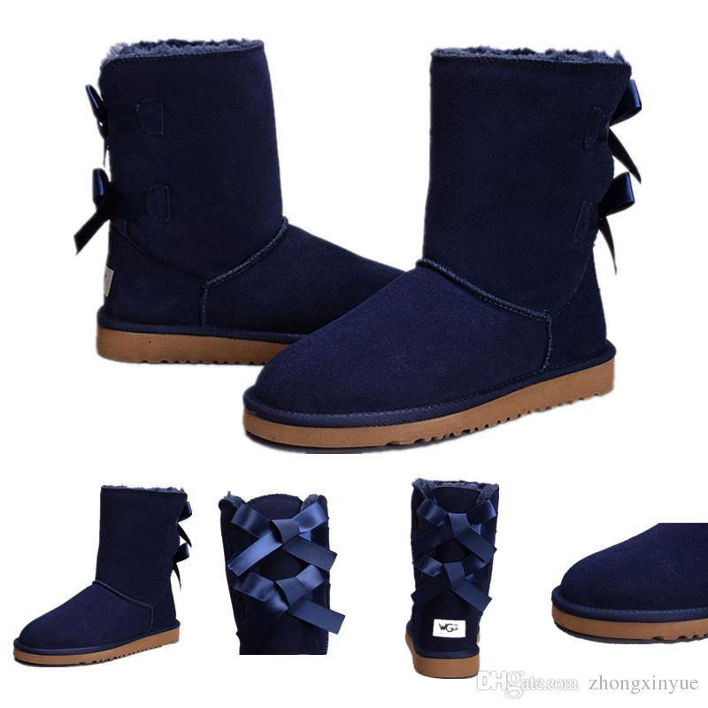 d027276ad74 Free shipping Red Grey WGG Women s Classic tall Boot Chestnut Coffee Navy  Blue Black Knee Boots Snow Winter Leather Boot on sale
