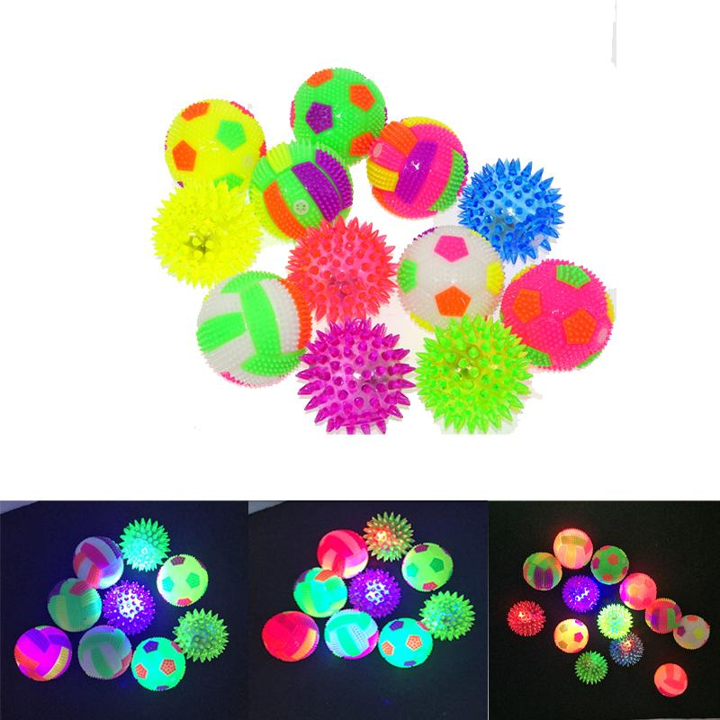 Elastic Massage Ball Flash Football Glowing Volleyball With Whistle