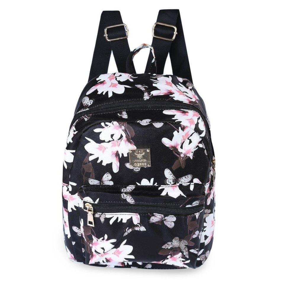 224adaf92e Women Cute School Bags Backpack Mini New Fashion Back Pack Floral Printing  Black Small PU Leather Backpack For Teenagers Girls Shop Backpack Hydration  ...