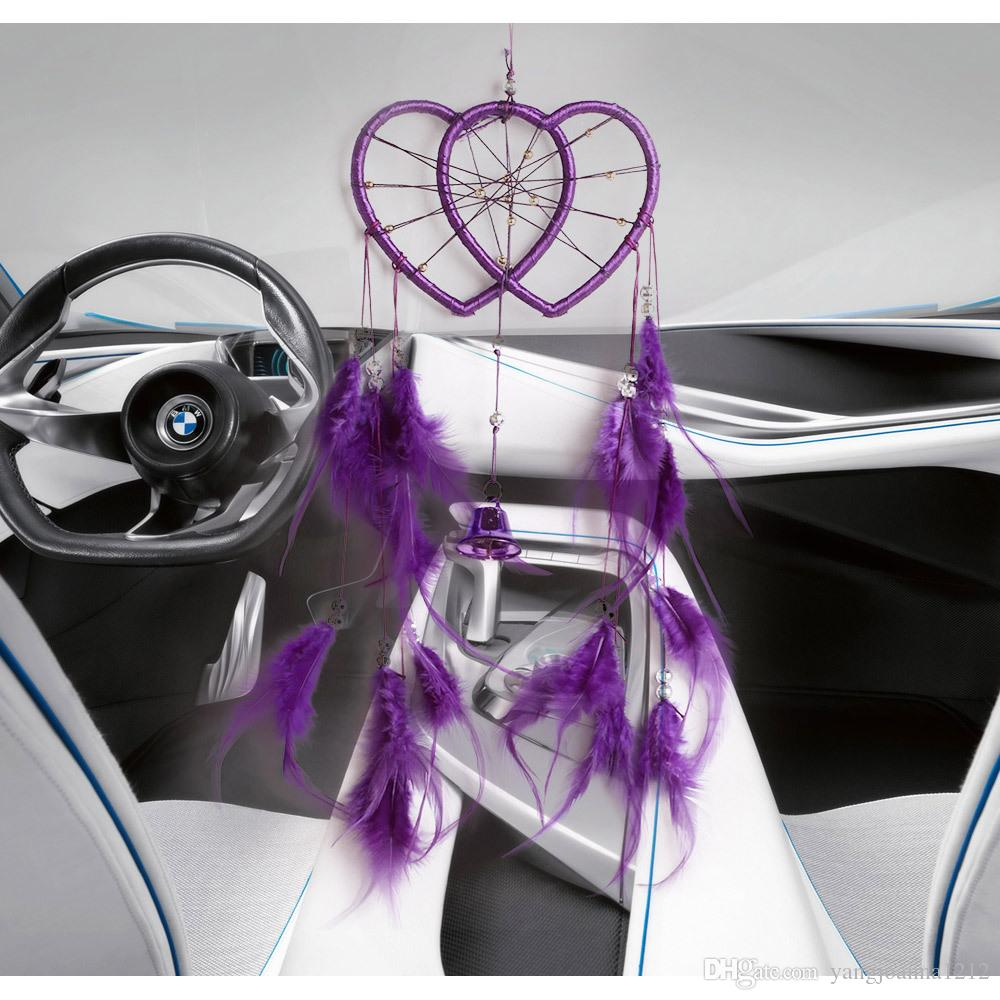 Love Heart Dream Catcher Net For Cars Sala de bodas Decoración colgante de pared Dreamcather con adornos de campana Wind Chimes Craft Valentine Gifts