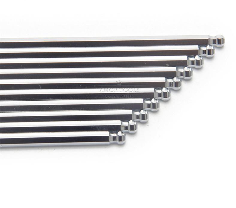 Freeshipping 4mm Hex Key Ball End Allen Key Wrench Multitool Chrome Vanadium Hexagon Metric Hand Tool Set 10Pcs/lot