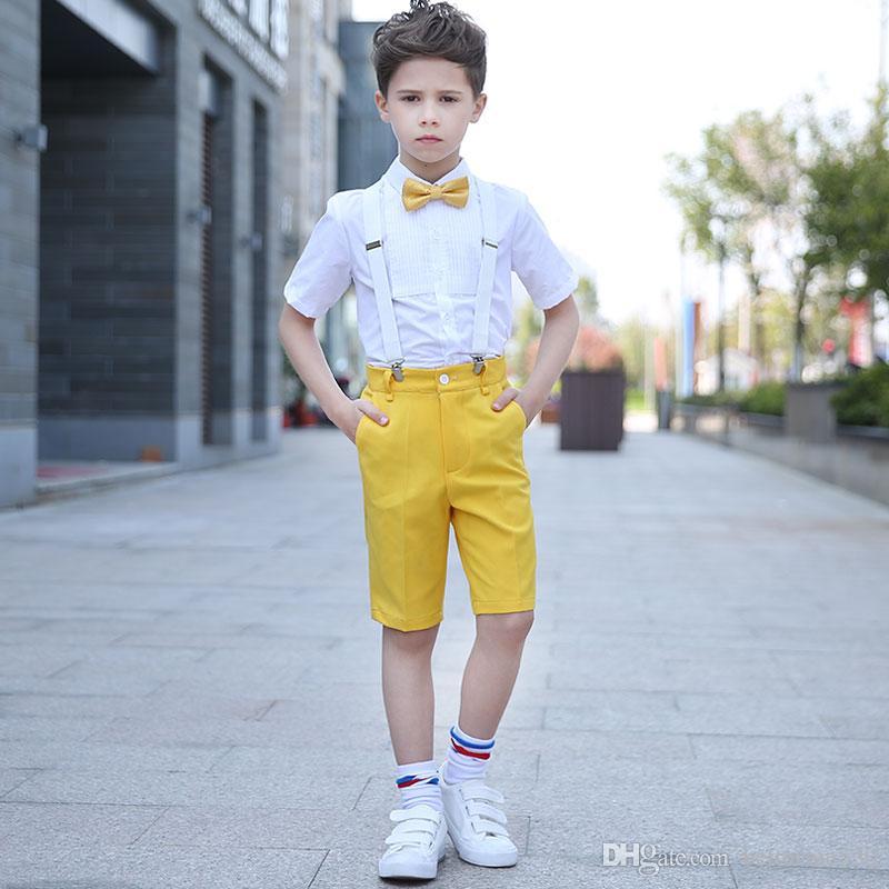531c3f3208 2019 Children S Day Pants+Shirts+Belt+Bow Summer Yellow Chorus Wedding  Flower Boys Short Sleeve Blazer Suit Sets From Betterme530