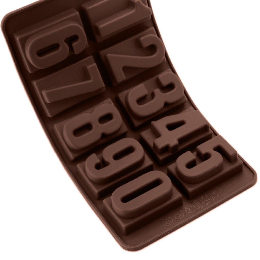 3D Kitchen Accessories 10 Holes Number Shape Soap Chocolate Mold Silicone Stencils Cookings for Baking