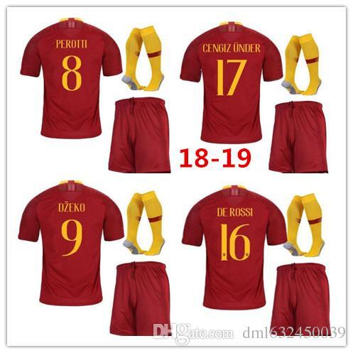 2019 Roma SOCCER Jerseys Adult KIT TOTTI DE ROSSI New Arrive 18 19 HOME RED  Kit DZEKO EL Shaarawy 2018 2019 Roma Football Shirts SET From Dml632450039 15c02ecf1