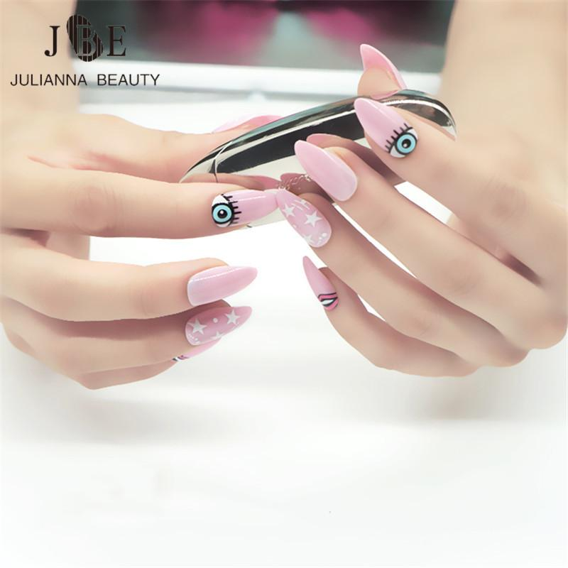Cute Eyes Pink Color Oval Stiletto Pointy Full False Nail Tips