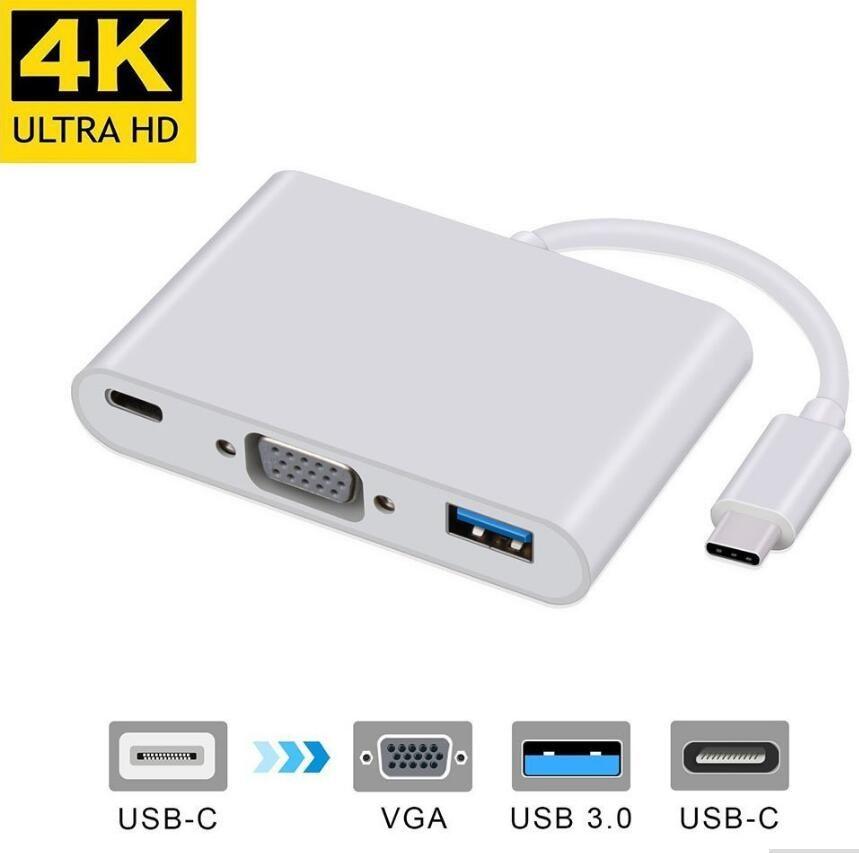 USB 3.1 Typ-C auf VGA / USB 3.0 / Typ C Adapter Konverter Hub Konverter Ladegerät Adapter für MacBook Laptop USB-C