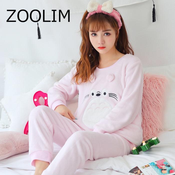 2019 Women Pajamas Set Thick Flannel Cotton Pyjama Warm Animal Women S  Pajamas With Pants Long Sleeve Pink Panther Flamingo Print D18110502 From  Shen8403 4712075e46