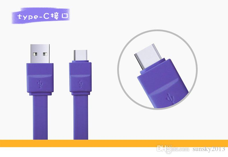 Cute Noodle Flat USB Charging Date Cable with Buscuit Packing 1M Type-C Cord for Xiaomi Samsung Huawei Android Phone Charge Line