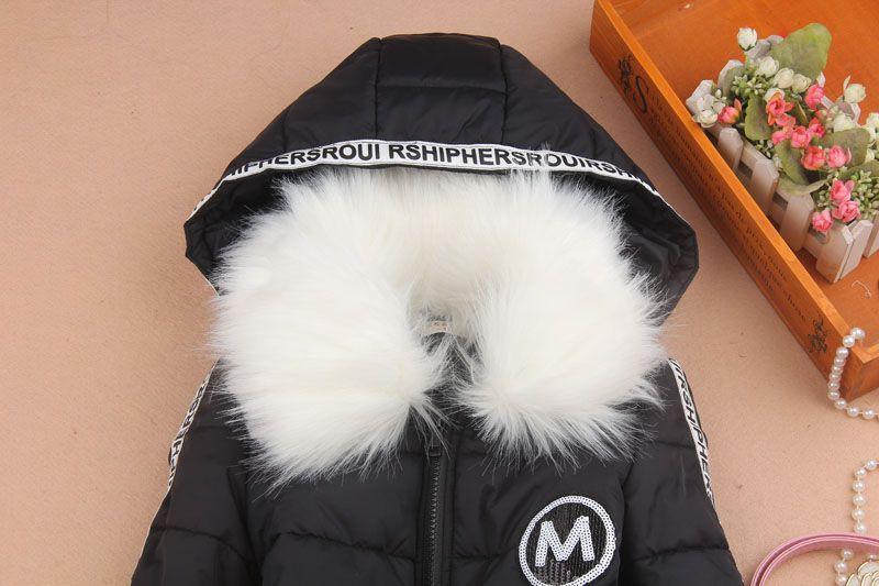 2018 Kızlar Kış Mont Ve Ceketler Çocuk Giyim Kürk Yaka Kapşonlu Pamuk Ceket Çocuk Giysileri Anne Kızı Giyim 3-16Y
