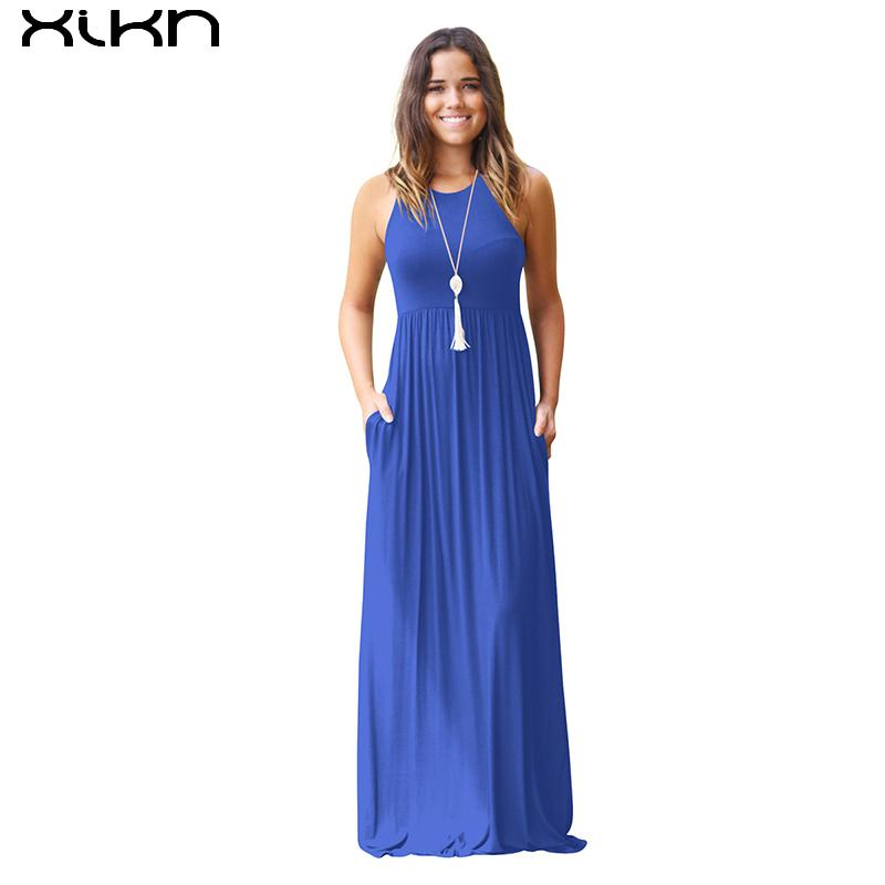 uk availability 590bc 2203a XIKN 2018 Sommer Maxi Langes Kleid Frauen Neue Sleeveless Solide Vestidos  Lange Kleider Femme Plus Größe Elegante Feste lila AA429