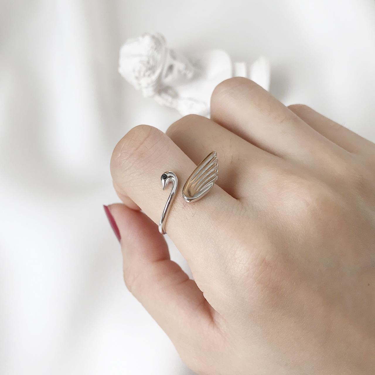5da58b36c418a Heißer Verkauf Marke Swan Reine 925 Sterling Silber Geschenk Frauen Rose  silbrig Farbe Ring Klassische weiße Swan Schmuck Romantische Perle Swan Ring