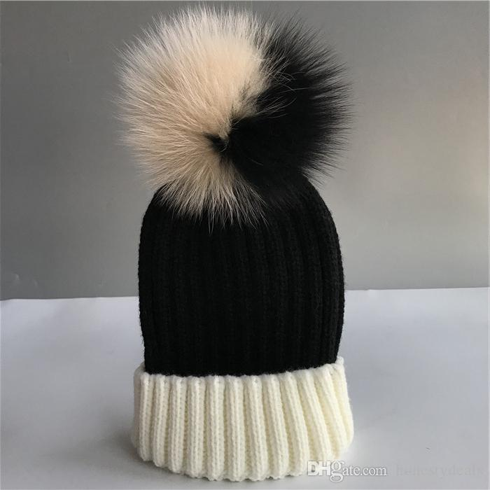 17d24be1927 Cheap Adult-Real Genuine Fox Fur Bi-color Pom Pom Ball Knitted Hat Beanie  Cap