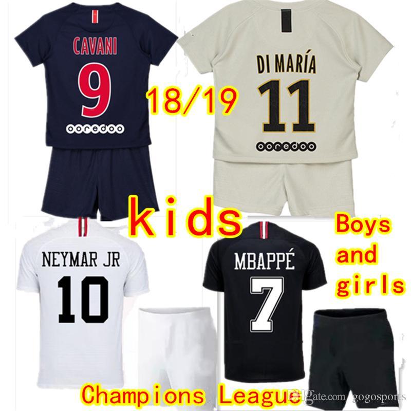 c1818918abd57 Compre Playeras De Niños De París Verratti T.SILVA Juegos De Fútbol 2018  2019 MBAPPE NEYMAR JR CAVANI DI MARIA Uniforme De Fútbol Infantil Rabiot  Draxler ...