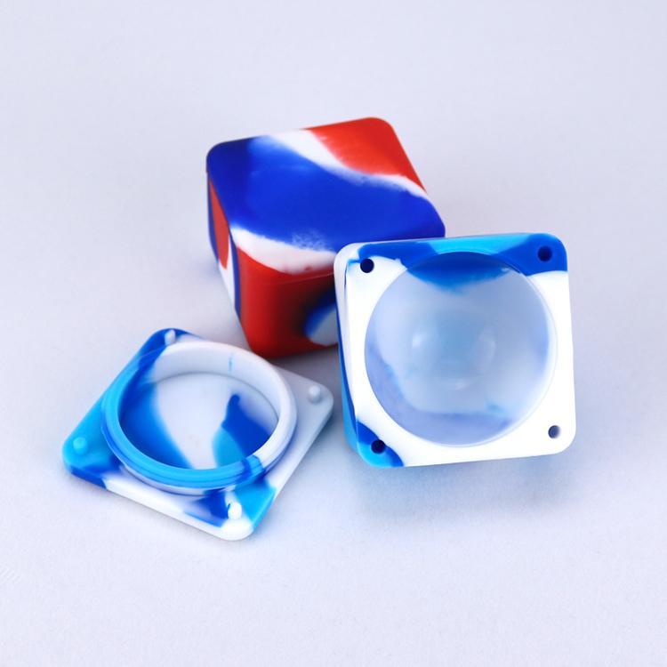 Contenedores de cera antiadherente Caja de silicona 37ml Contenedor de silicio Gran cuadrado Aceites de cera de calidad alimentaria Dab Dabber Tool Gran jarra de aceite Holder Vapor DHL
