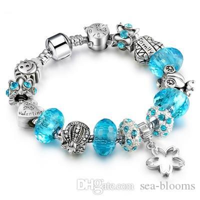 20cm Silver Clover Heart Pendant Glass Crystal European Charm Beads Fits Charm Style Bracelets Emoji Bracelet 12 Style D636S