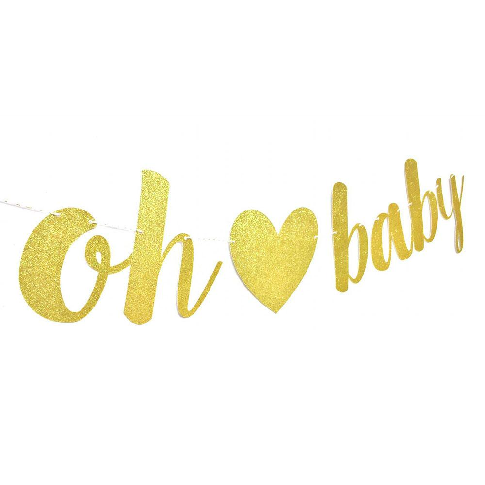 ZLJQ Oh Baby Gold Glitter Banner Sign for Baby Shower Pregnancy ...