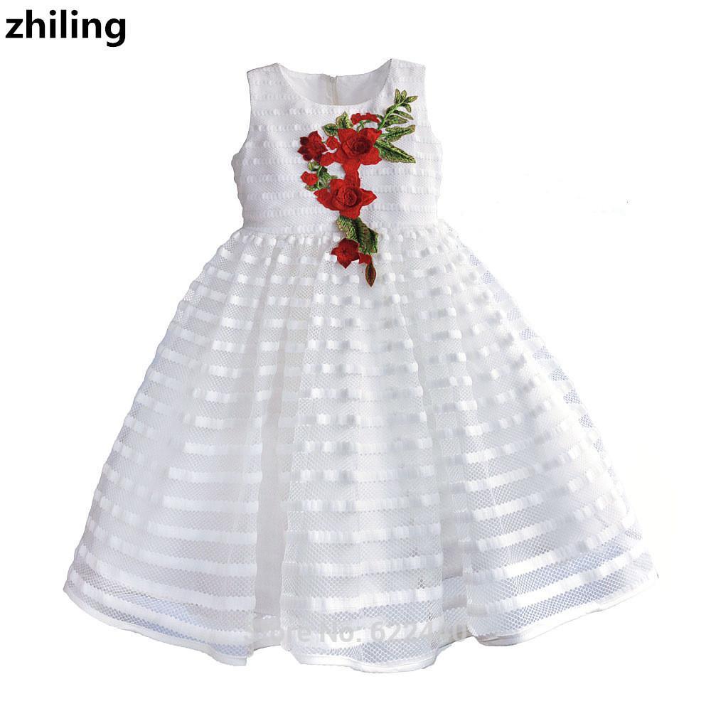 Whiteblack Flower Girl Dresses With Pattern Girls Weddingparty