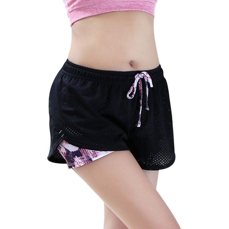 4a63048cffd6 2 en 1 Mujeres Pantalones Cortos de Yoga de Verano Malla Transpirable Ladie  Girl Pantalones Cortos Corriendo Atlético de Dos Capas de Fitness Deporte  ...