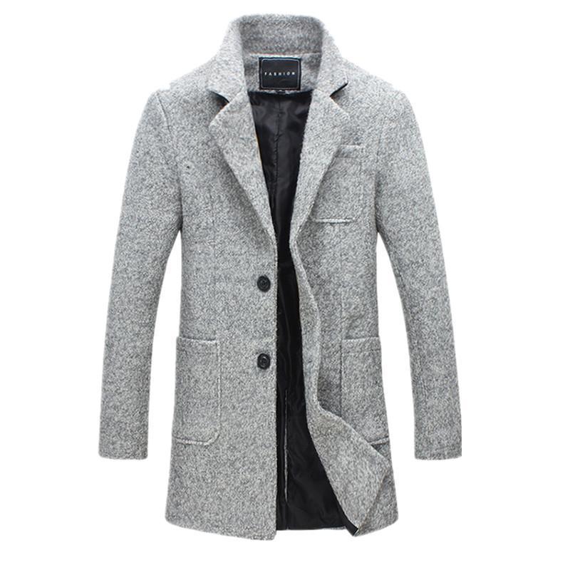 Compre M 5XL 2017 Nova Moda Longo Trench Coat Homens Casaco De Inverno Dos  Homens 40% De Lã Grossa Trench Coat Da Jaqueta De Pea Masculina De  Shanghu8 305c0a6fbb0