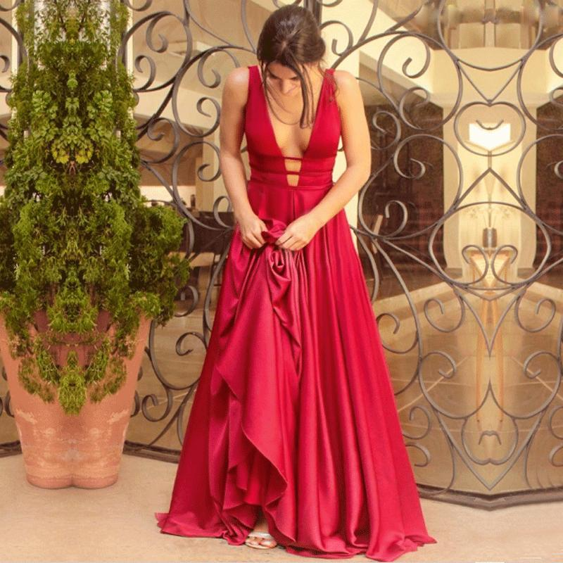 2019 BeryLove Sexy Red Evening Dresses 2018 Elegant Satin Evening Gowns  Long Formal Evening Dress Styles Women Prom Party Dresses C18110601 From  Linmei0006 cd234fce14ea