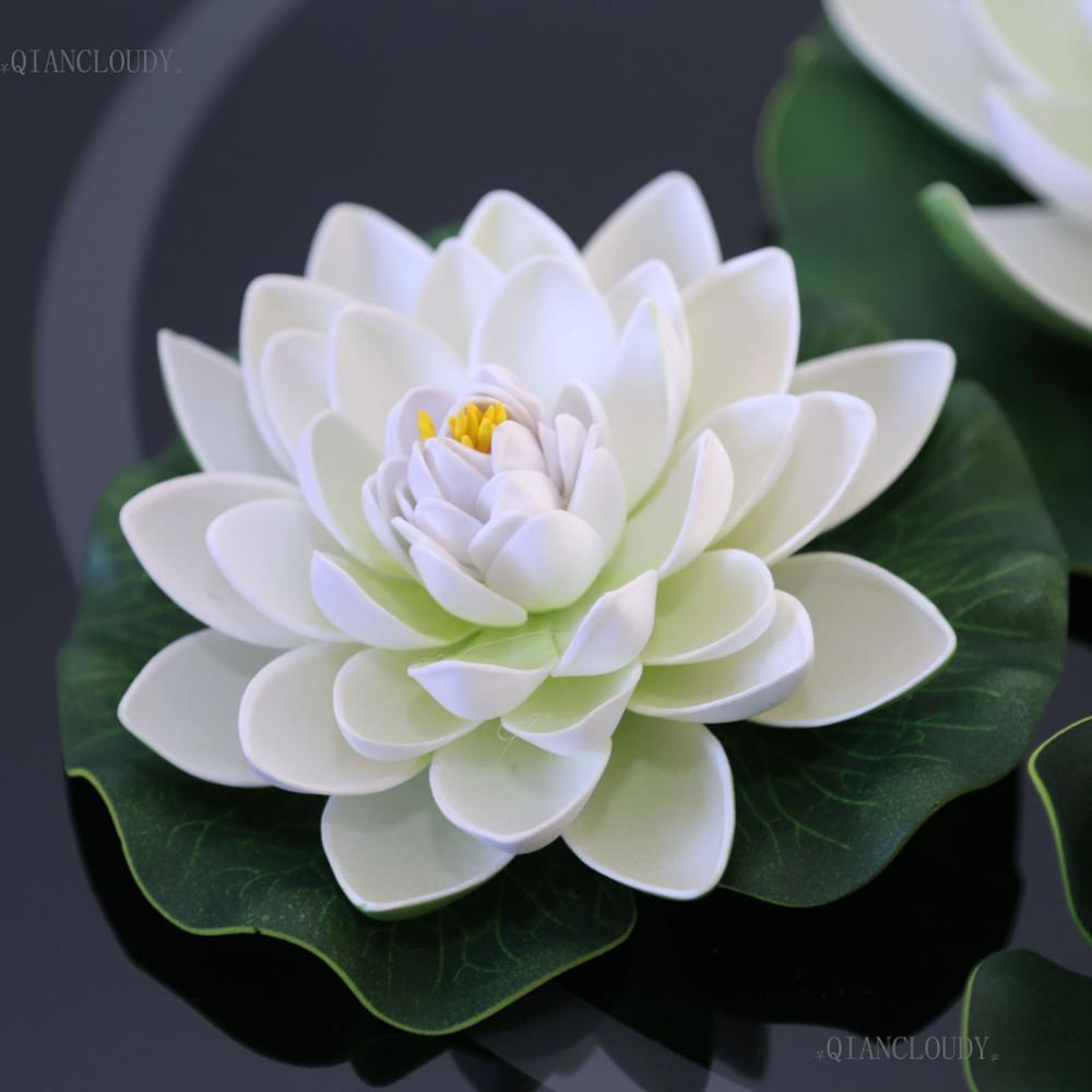 2018 leaves flowers artificial white lotus leaves flowers water 2018 leaves flowers artificial white lotus leaves flowers water ponds lotus leaf fake lily floating pool home garden plants wedding d24 from izmirmasajfo