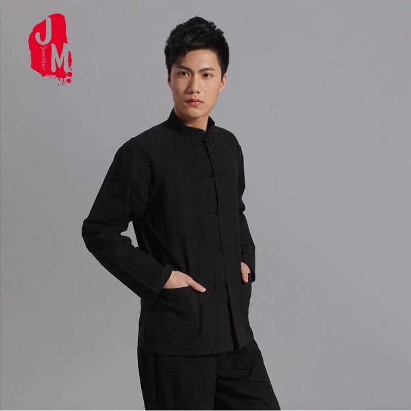 666b49a0609a Acquista Tang Abiti Da Uomo Tradizionale Cinese Abbigliamento Tuta Tops  Kung Fu Top Camicetta Camicie Maniche Lunghe Esercizi Costume Estivo Top A   27.18 ...