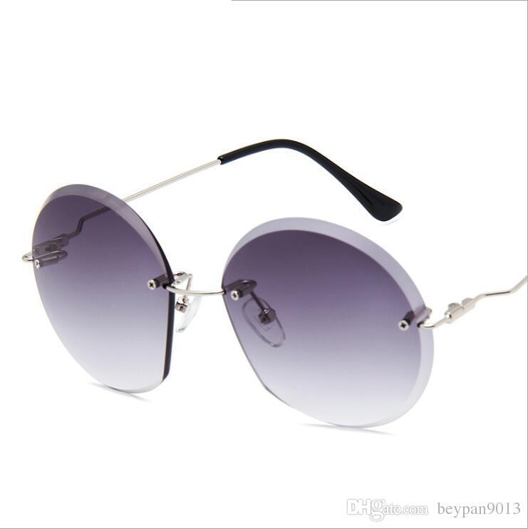 f07eb84aad7c 2018 New Trend Luxury Brand Sunglasses for Men Women Unisex Round Lens Sun  Glasses Rimless Glass Diamond Sun Glasses Eyewear