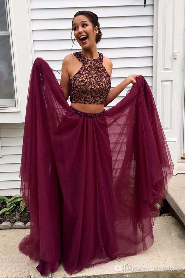 2018 prom dress Hot Burgundy Two Piece Floor Length Chiffon Holiday Evening Party Gowns Zipper Back Arabic Plus Size Beaded Special pageant