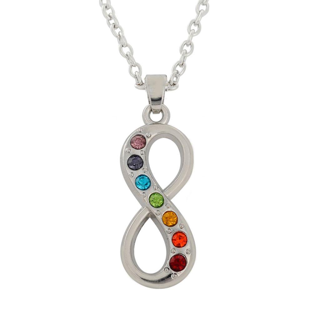 lemegeton Dropshipping Silver Zinc Alloy Seven Chakra and Nadis India  Infinity Symbol Women Pendant Jewelry Fashion Necklace