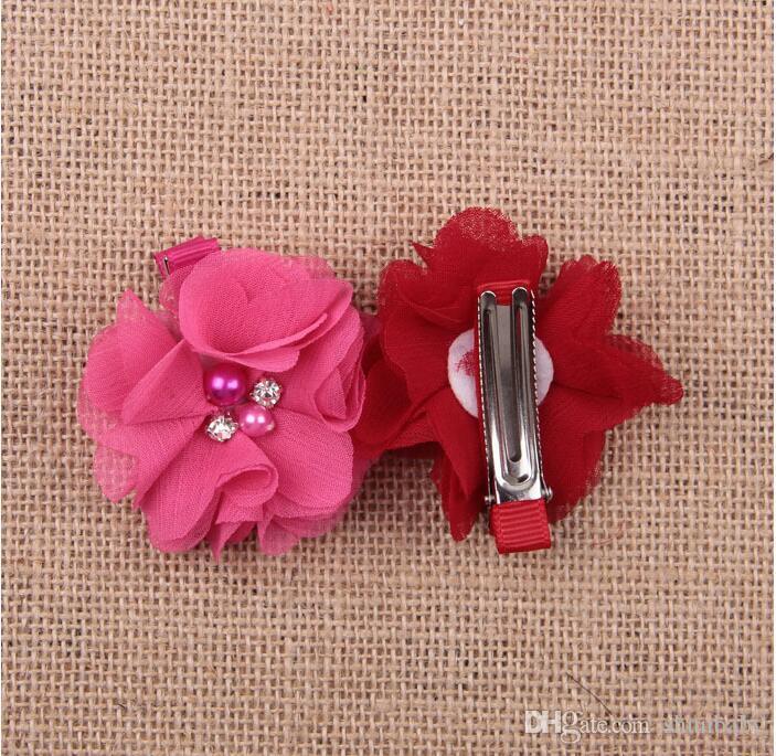 Красочные цветок девочка зажим для волос аксессуары детские жемчужина волос заколки зажим для волос симпатичные 7 цветов