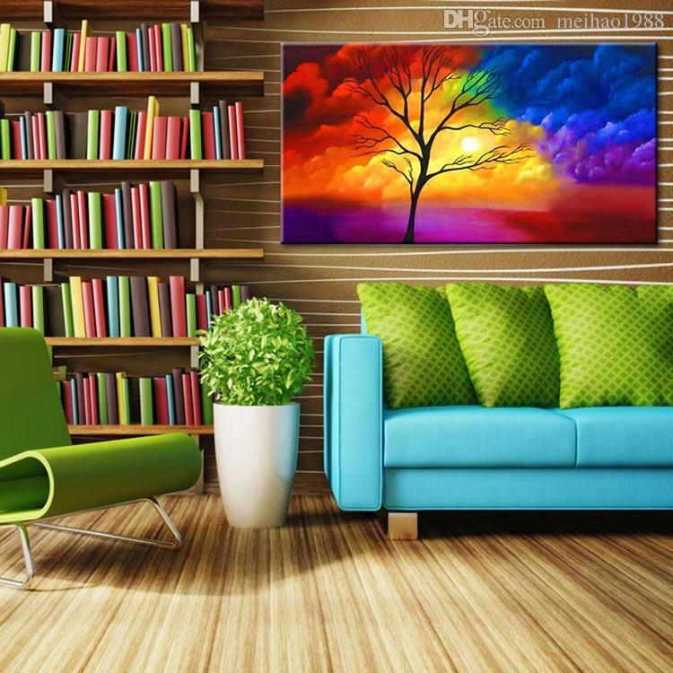 Handmade Modern colour Clouds and Trees Scenery Oil Painting Canvas Art Wall Picture For Bed Room Home Decoration cx4