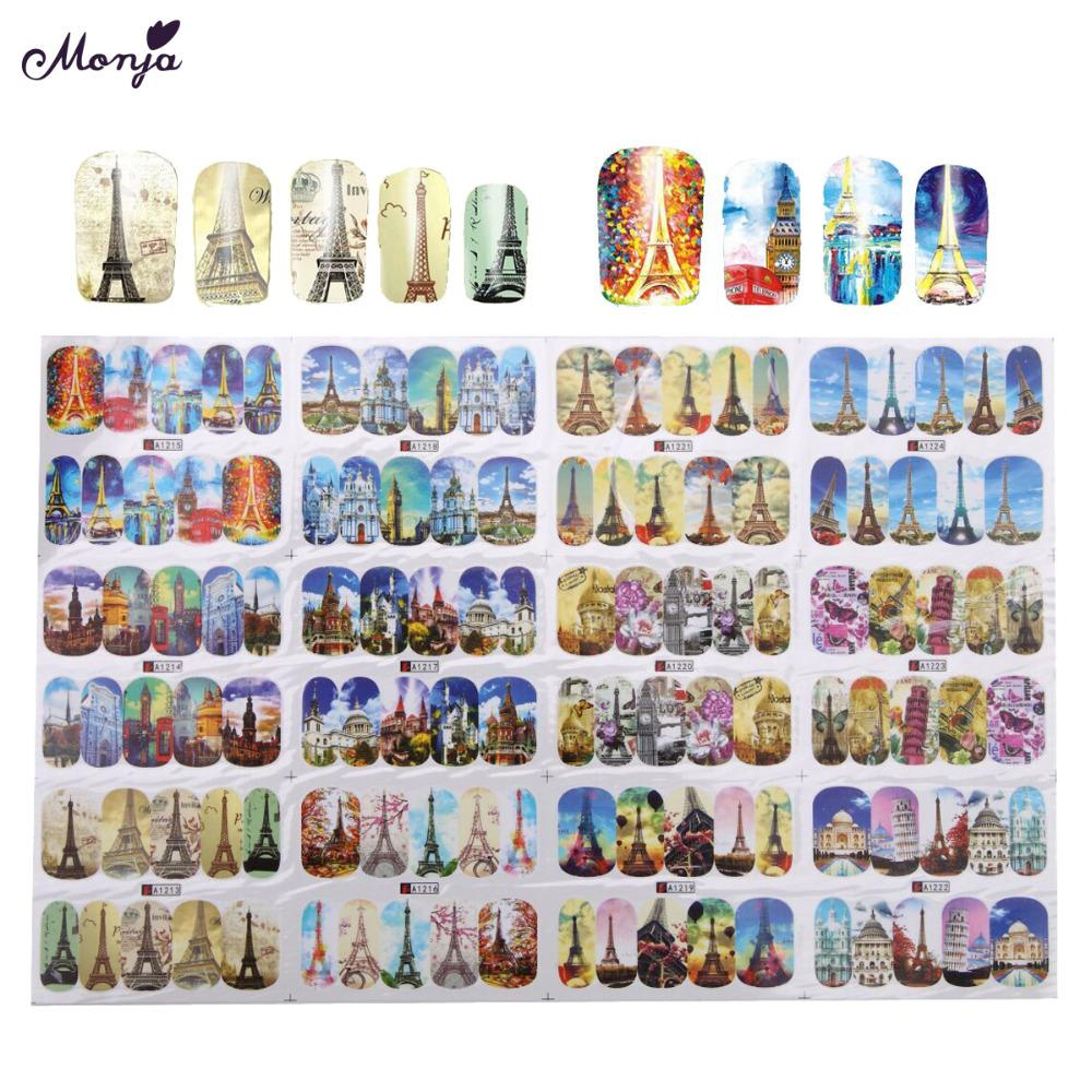 transfer Monja Nail Art Water Transfer Building Style Eiffel Tower Sky Church Pattern Sticker Full Cover Gel Polish Tips Decals