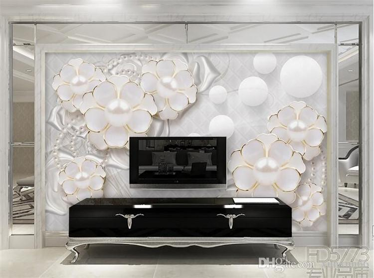 Custom photo wallpaper wall stickers large murals holy white luxury jewelry flowers living room TV papel de parede