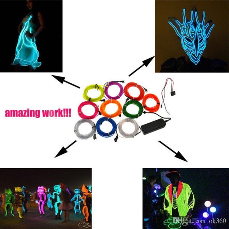 1 Mt 2 Mt 3 Mt 5 Mt Flexible Neonlicht Leuchten EL Drahtseil Rohr Auto Dance Party Kostüm + 2AA Batterie Controller Weihnachten Urlaub Decor Licht