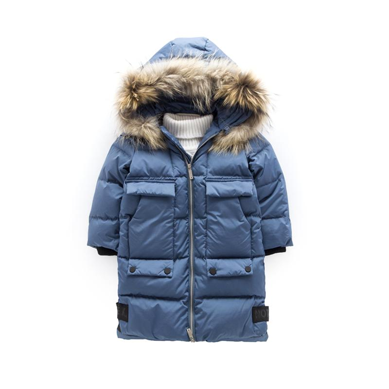 7054eabe7 Boys Down Jackets Winter Jacket For Boys Warm big real fur Hooded Outerwear  Coat Kids Parkas For Children Jacket 10 12 Year