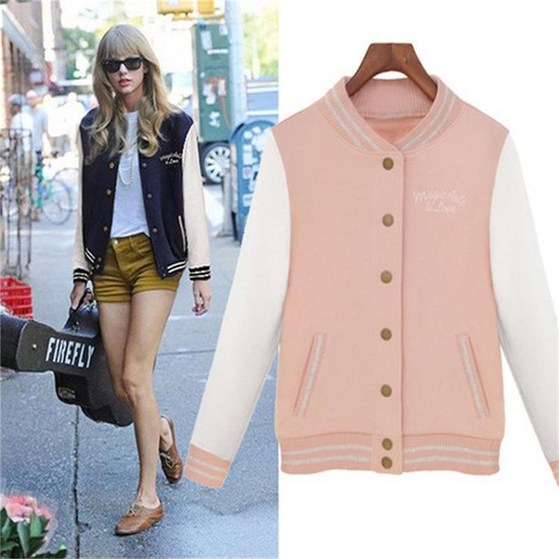 245be84d7 Casacos Femininos College Jackets 2018 Autumn Winter Splice Sleeves ...