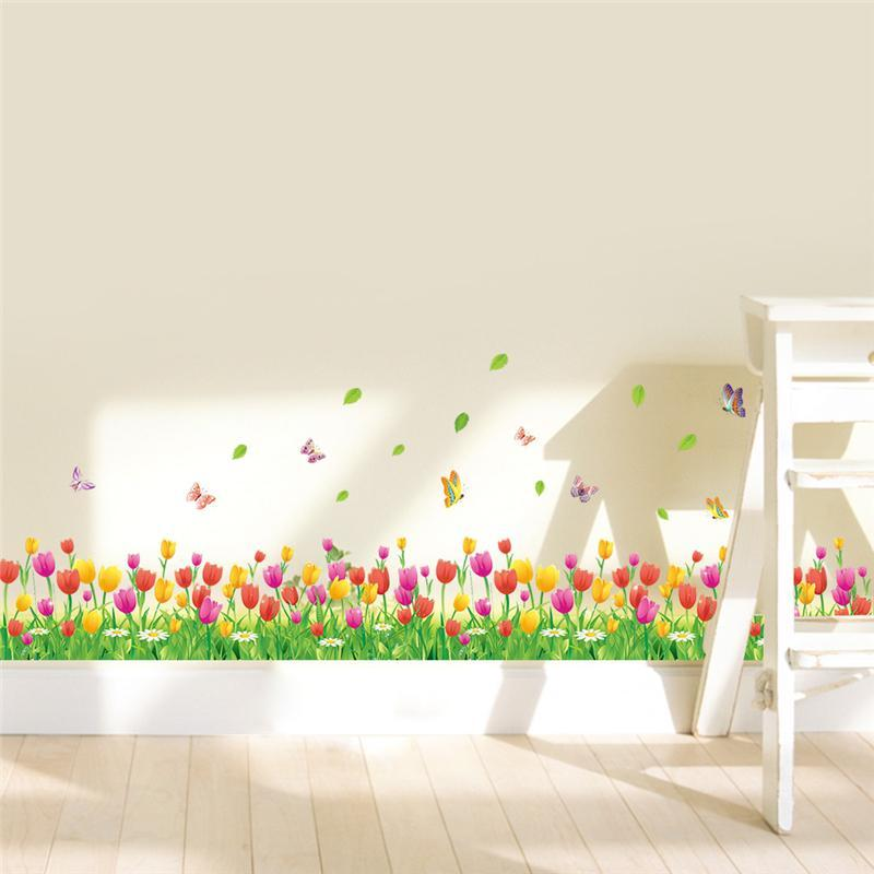 Colorful Tulip Flowers Fences Baseboard Wall Decals Home Decorative Stickers Adesivos De Paredes Living Bedroom 3d Wall Art 053
