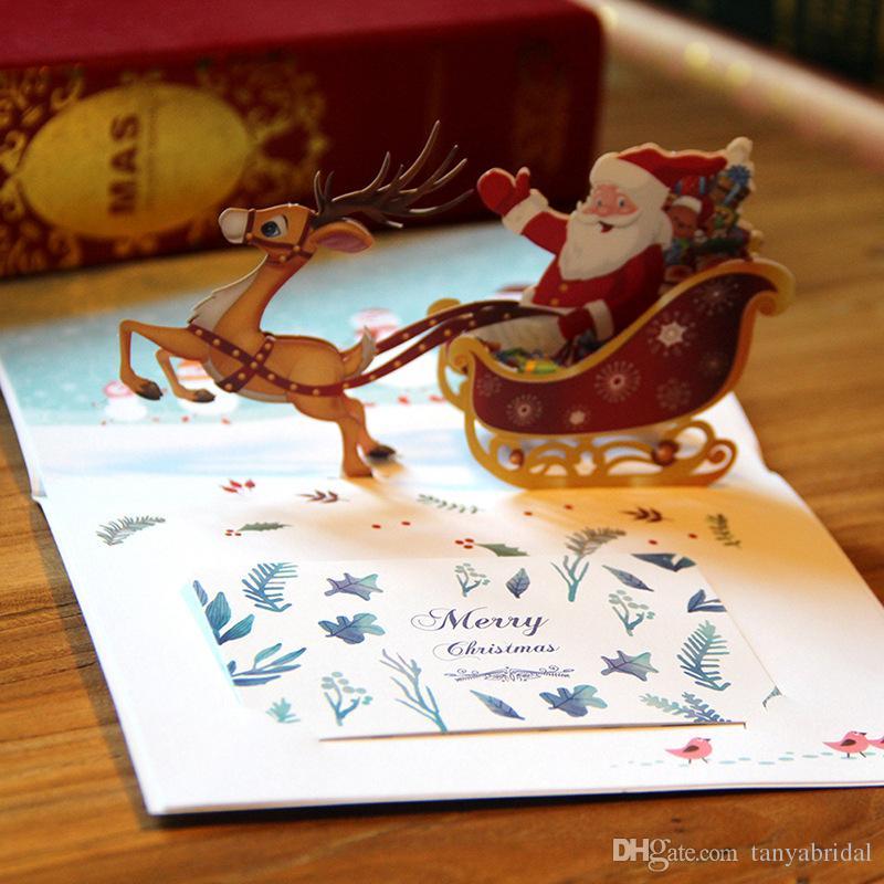 Elk Santa Claus Christmas Cards 3D Creative Christmas Folded ...